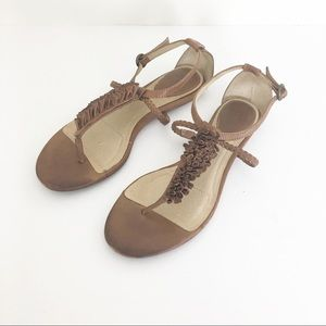 Frye Sandals Flower T strap brown/ tan leather 9